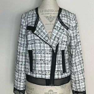 Milly Black White Tweed Moto Jacket 8 EUC